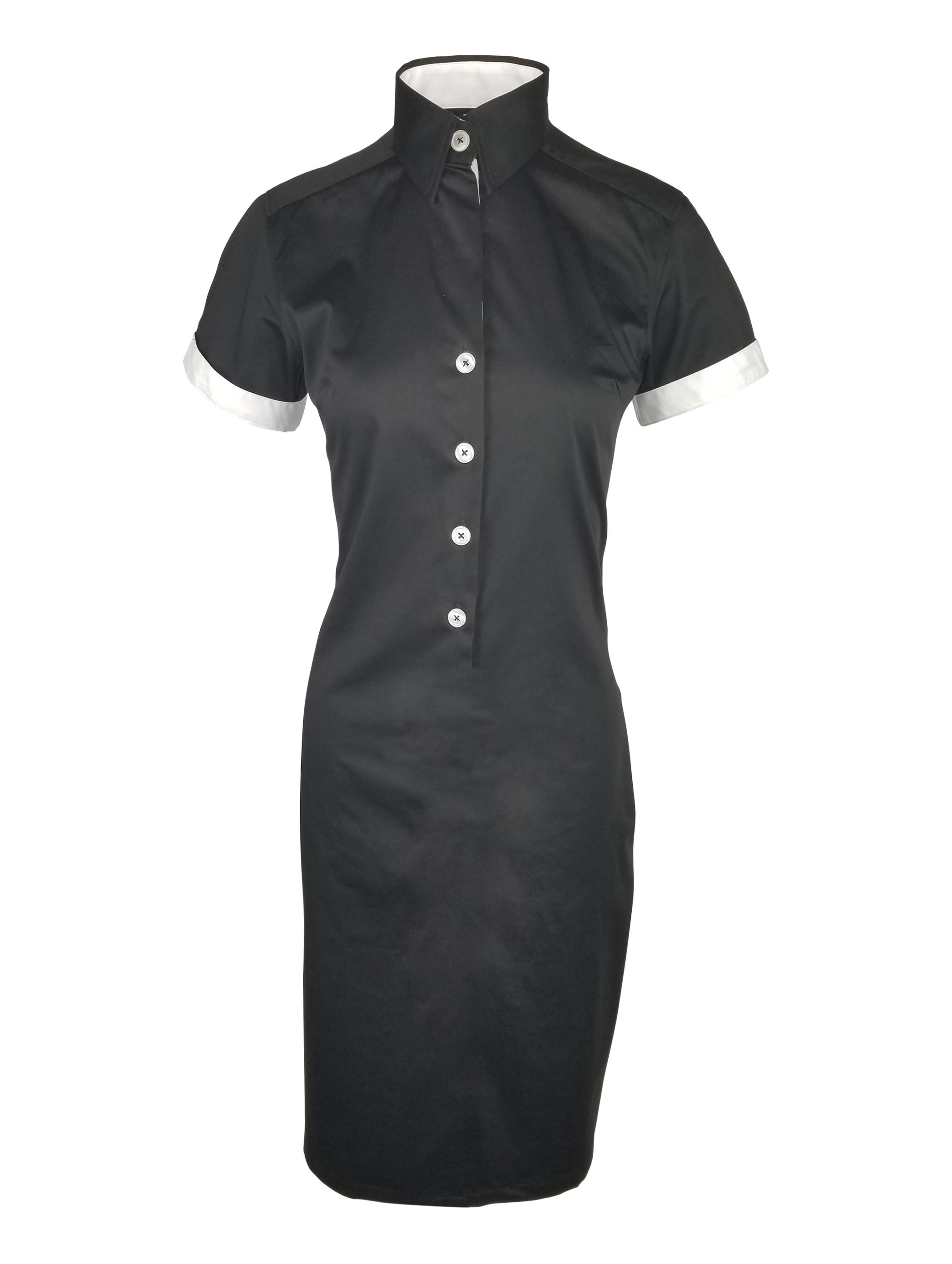 8e0c0ba5 Black And White Short Sleeve Sheath Dress
