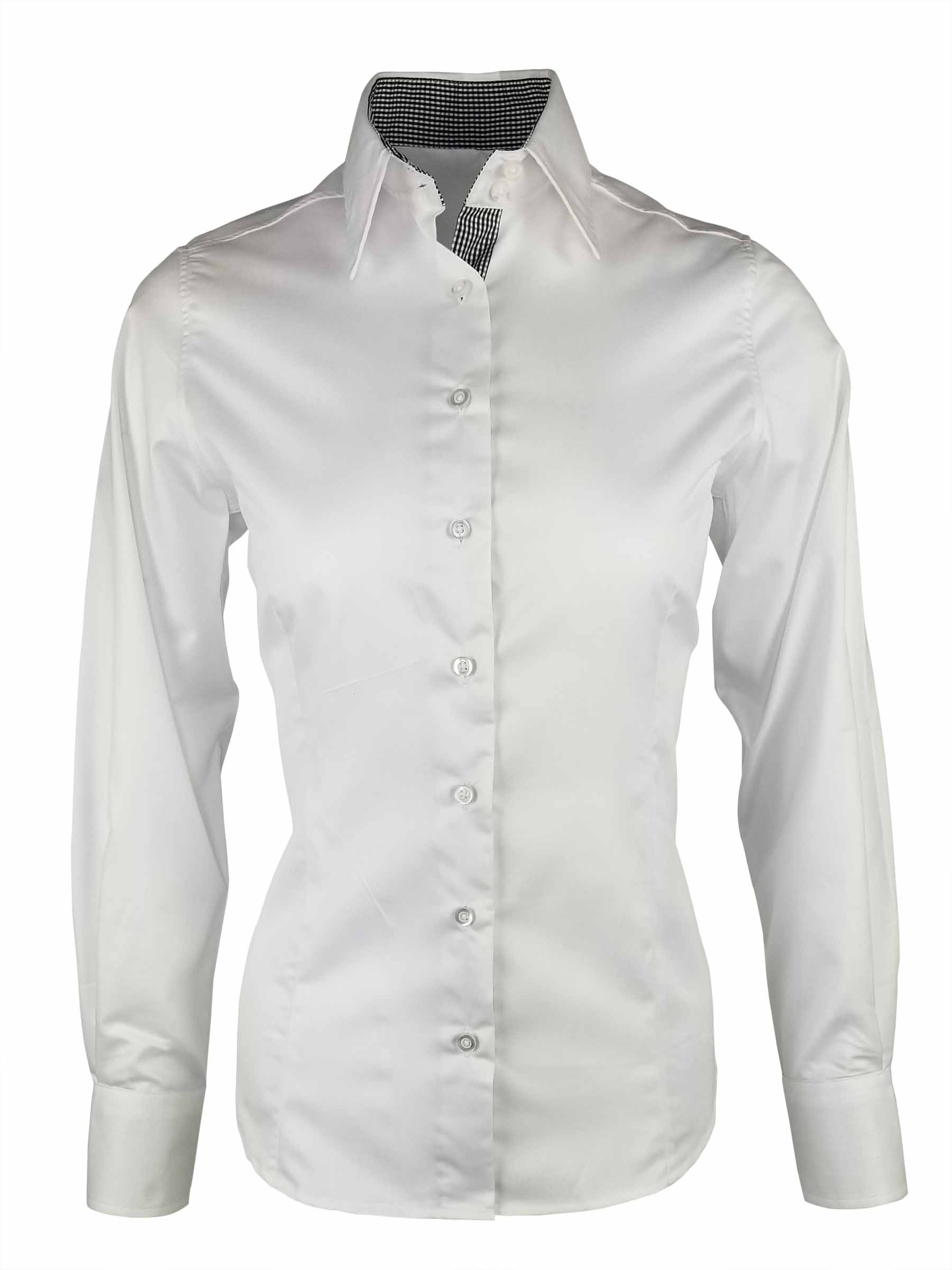 b039daeac63 Home Products Women s White with Black Check Contrast Shirt – Long Sleeve.  🔍. AddThis Sharing Buttons