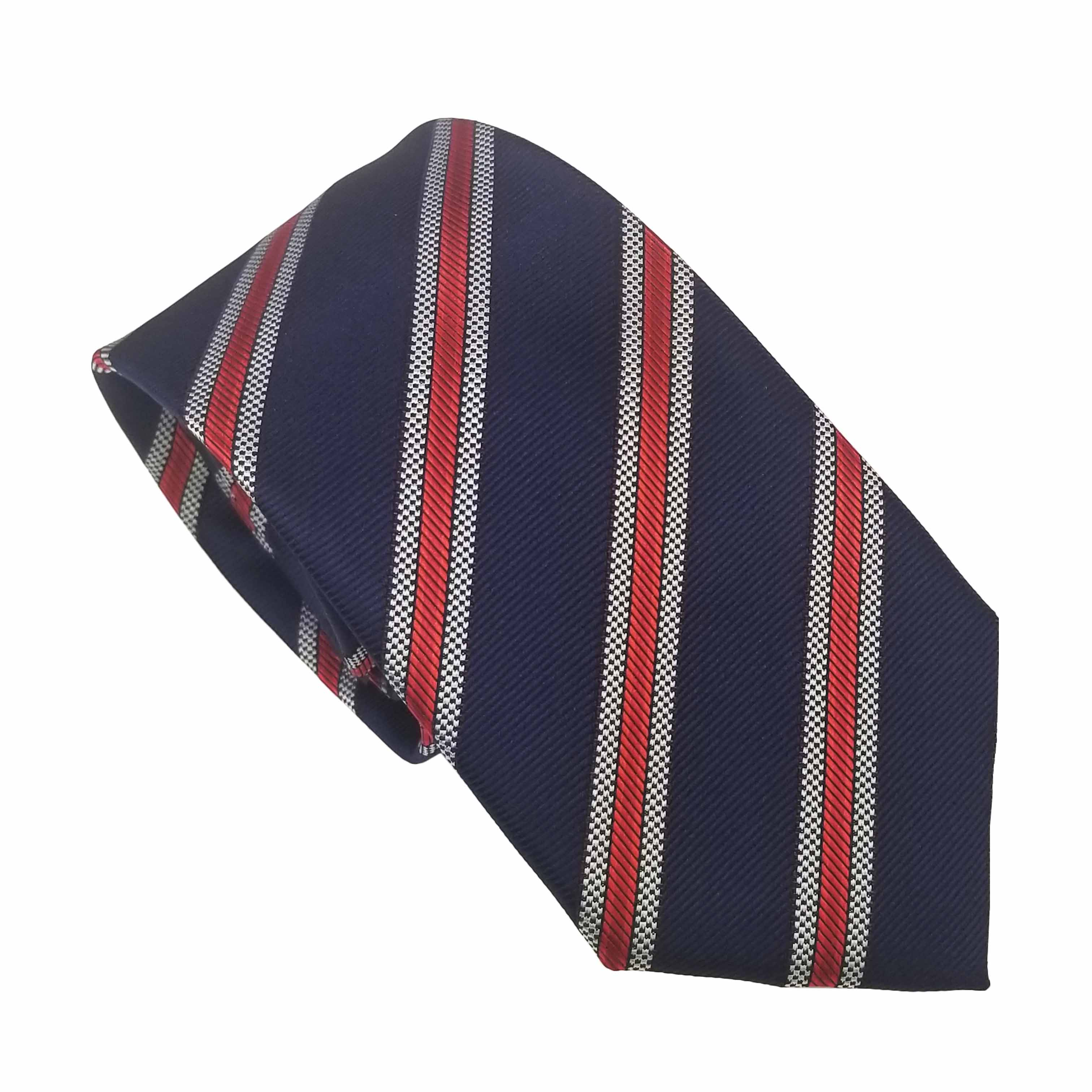 Uniform Tie Navy With White And Red Diagonal Stripe